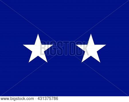 The Flag Of A Usa Airforce Major General Of A Pair Of White Stars Set Over A Red Background