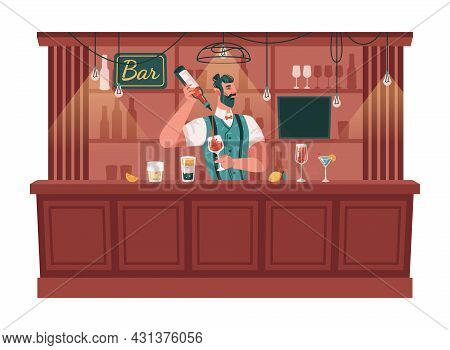 Skillful Bartender Serving Cocktails And Mixing Drinks. Barman With Glasses And Bottles Of Alcohol,