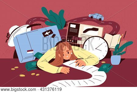 Busy Person Overloaded With Many Tasks In To-do List And Lot Of Plans For Holiday Travel. Concept Of