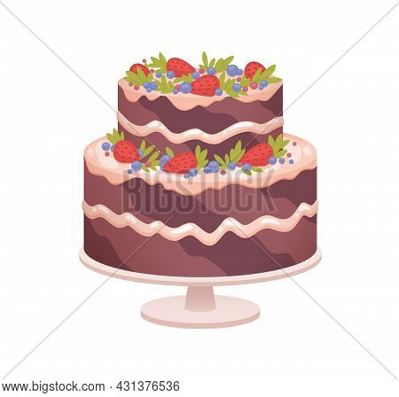 Chocolate Sponge Cake On Plate For Birthday Or Wedding Anniversary Party. Layered Sweet Dessert Deco