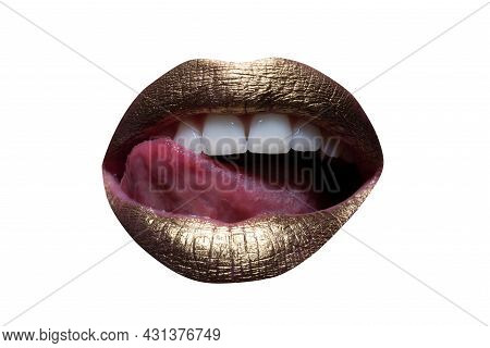 Red Lips, Mouth And Tongue Icon. Poster And Banner Of Open Mouth. Close-up Woman Licking Lips. Femal