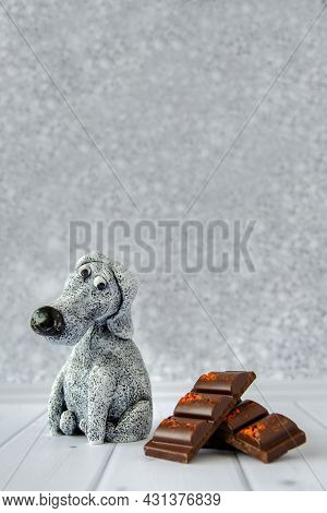 Cute Funny Toy Dog Looks At Delicious Sweet Macaroons Lying Nearby. Concept: Diet, Avoiding Sweets,