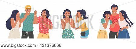 People Gossiping, Whispering, Spreading Rumors, Telling Secrets, Flat Vector Isolated Illustration.