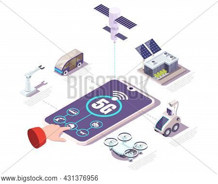 5g Network Mobile Phone With Iot App, Flat Vector Isometric Illustration. Internet Of Things, Smart