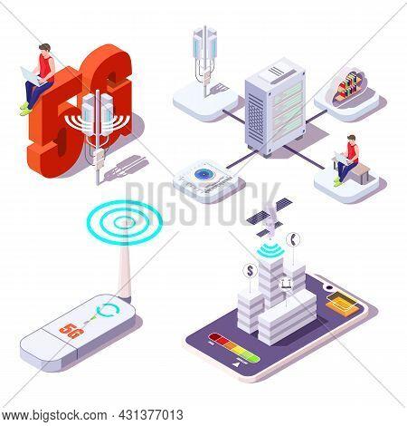 5g Icon Set. People Using Wireless High Speed Internet. Broadband Service Provider, Flat Vector Isom