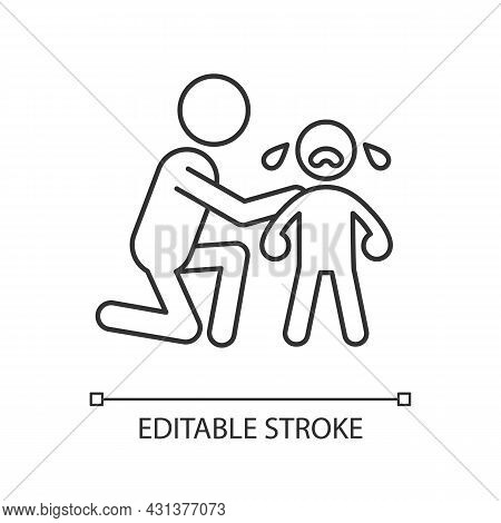 Comforting Crying Child Linear Icon. Cuddling And Softly Talking To Kid. Show Empathy. Thin Line Cus