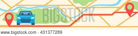 Car On City Map With Red Pins And Route Between Them. Horizontal Banner Template. Gps Navigator Or C