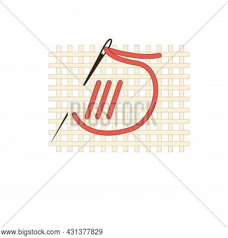 Fragment Of Embroidery On Canvas. Embroidery On Canvas. Red Thread. Thread Stitch. Isolated On A Whi