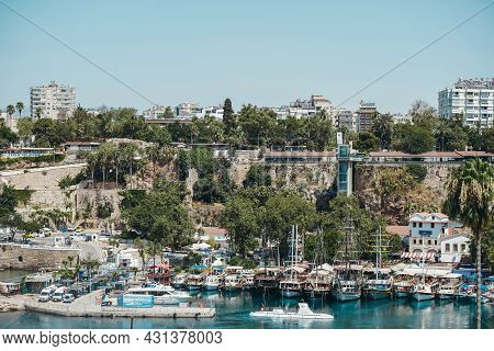 Antalya, Turkey - 30 July 2021: Panorama Of The Beautiful Port Of The Old Town Of Kaleici In Antalya