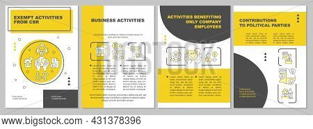 Corporate Social Responsibility Activities Yellow Brochure Template. Flyer, Booklet, Leaflet Print,