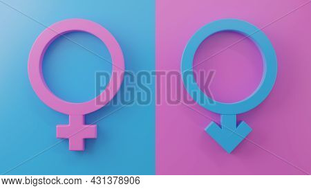 Gender Symbols With Heads Of Male And Female. World Sexual Health Day Concept, Gender Sex Icon Pink