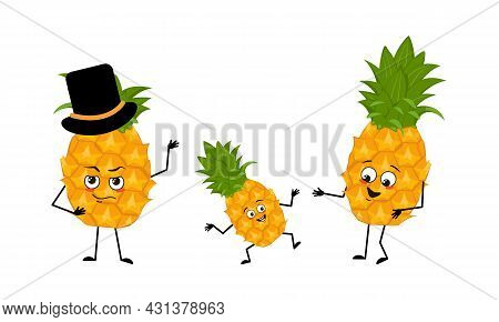 Family Of Cute Pineapple Characters With Joyful Emotions, Smile Face, Happy Eyes, Arms And Legs. Mom