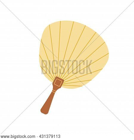 Asian Shell-shaped Hand Fan With Wood Handle. Japanese Traditional Silk Handheld Object For Air Cool