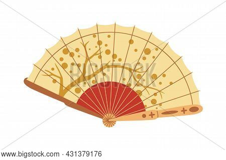 Open Folding Hand Fan With Japanese Ornament. Asian Bending Paper Item For Air Cooling. Traditional