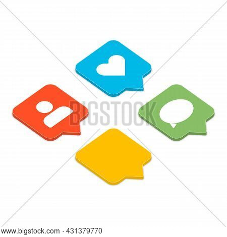 Like, Follower And Comment Icons Set. Social Media Notification Icon In Isometric. Social Network Ap