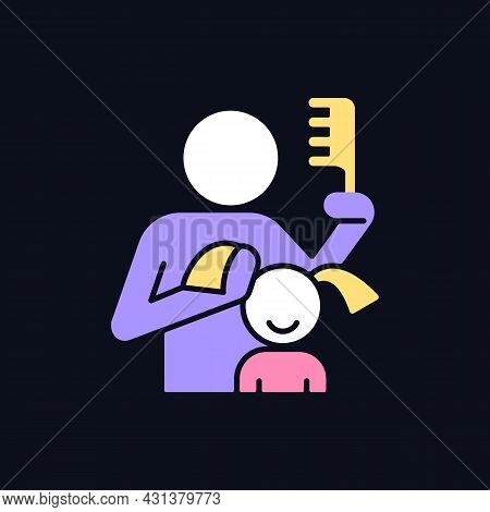 Braiding Daughter Pigtails Rgb Color Icon For Dark Theme. Bonding Experience. Brush Hair. Develop Cl