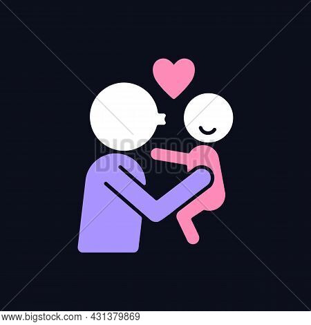 Kissing Child On Cheek Rgb Color Icon For Dark Theme. Showing Affection. Express Parental Love To Ba