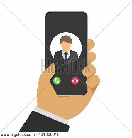 Incoming Call On Smartphone Screen. Businessman Hand Holding Smartphone With Incoming Call On Displa