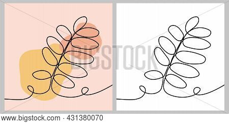 Autumn Leaf - One Continuous Line, Single Line Drawing Art, Organic Design, Abstract Line With Rando