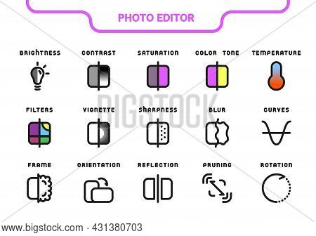 Vector Icon Line And Fill Set. Photo Editor Collection: Brightness, Contrast, Saturation, Hue, Tempe
