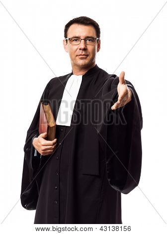 one caucasian lawyer man in studio isolated on white background poster