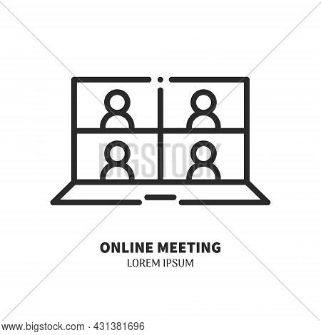 Laptop With Conferencing People Simple Line Icon. Logo Concept. Video Conference And Online Meeting