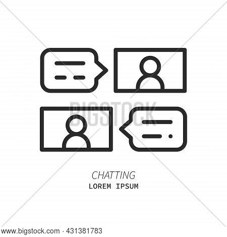 Chatting People Line Icon. Video Chat And Online Meeting Concept. Logo Concept. Distance Work And Le