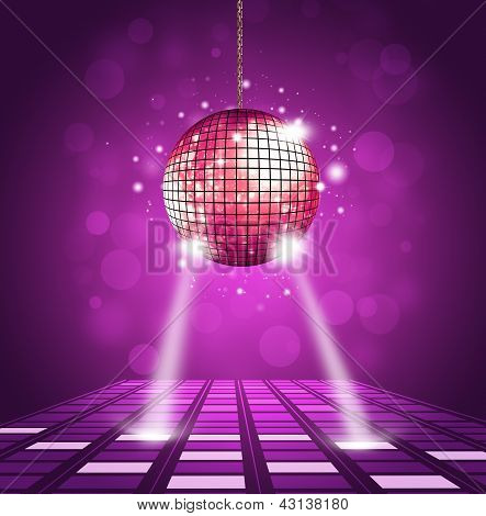 disco ball and floor background with equalizer and music waves poster