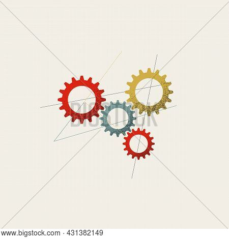 Business Workflow And Process Automation Vector Concept. Industry, Engineering, Technology Symbol. M