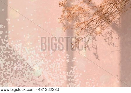 Dreamy Background With Confetti And Flower High Quality Photo