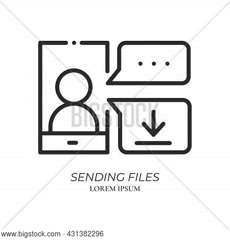 Chatting, Conferencing And Sending Files Line Icon. Video Conference And Online Meeting Concept. Dis