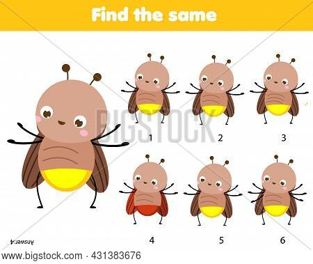 Children Educational Game. Find Two Same Pictures Of Cute Firefly. Activity Fun Page For Toddlers An