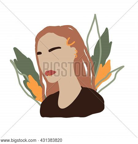 Abstract Woman In Minimal Style. Modern Fashion Female Faceless Portrait. Girl In White Dress And Wi