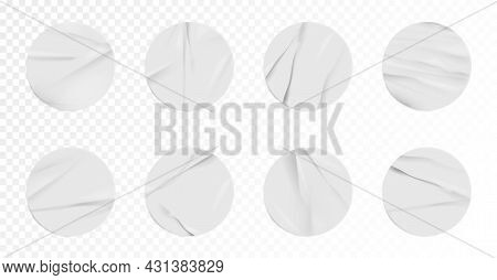 Realistic Sticker Or Label Mockup With Wrinkled Effect Set. Three-dimensional Round Adhesive Sticky
