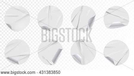 Realistic Wrinkled Sticker Or Label With Curled Corner Set. Set Of Adhesive Crumpled Patch Mockup Wi