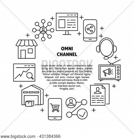 Omni Channel Banner With Round Frame In Line Style