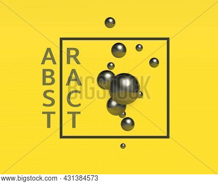Abstract Background Design. Group Of Black Chrome Realistic Balls With Highlights And Reflections Wi