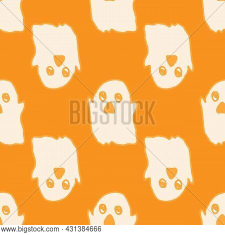 Vector Seamless Ghost Pattern On An Orange Background.a Hand-drawn Cartoon Flying Ghost In The Style
