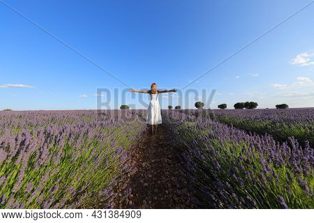 Woman Wearing White Dress Celebrating Outstretching Arms In A Lavender Field