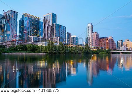 Austin Texas Skyline Cityscape Downtown. Usa City.