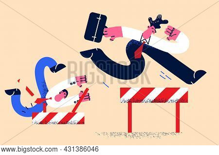 Leadership, Business Success, Achievement Concept. Young Businessman Running And Jumping Over Let Wi