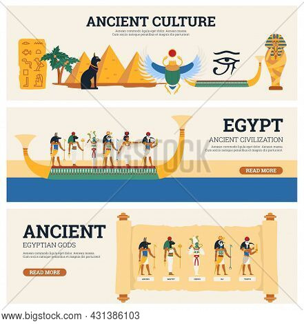 Banners Set Of Egyptian Culture And Antiquity With Gods And Landmarks Of Ancient Egypt, Flat Vector
