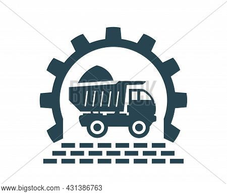 Vector Illustration Of The Icon And Logo Of A Truck, Dump Truck For Construction Work Of Enterprises