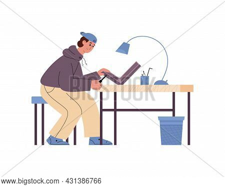 Male Professional Technician Working At Computer Service Fix Laptop.