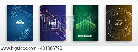 Vector Template For Brochure Or Cover With Hi-tech Elements Background. Business Layout, Futuristic