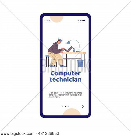 Mobile Phone Screen With Male Technician Working At Computer Service