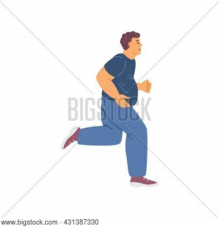 Overweight Middle-aged Man Running Flat Vector Illustration On White Background.