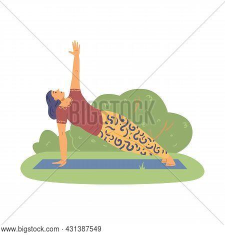 Woman Training Outdoors And Doing Yoga Asana, Flat Vector Illustration Isolated.