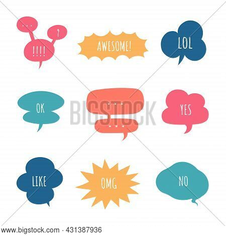 Collection Set Of Hand Drawing Frame Border, Speech Bubble Balloon, Think, Speak, Talk, Text Box, Ba