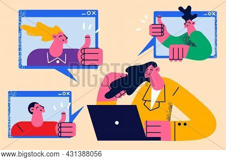 Online Meeting And Video Chat Concept. Group Of Young People Cartoon Characters Colleagues Showing T